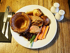 Sunday roast - Another Sunday roast with roast lamb, roast potatoes, carrots, green beans and Yorkshire pudding.