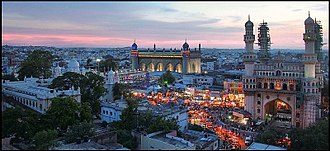 Old City (Hyderabad, India) - Panorama showing the Charminar, Mecca Masjid, Nizamia Hospital and surrounding bazaars.