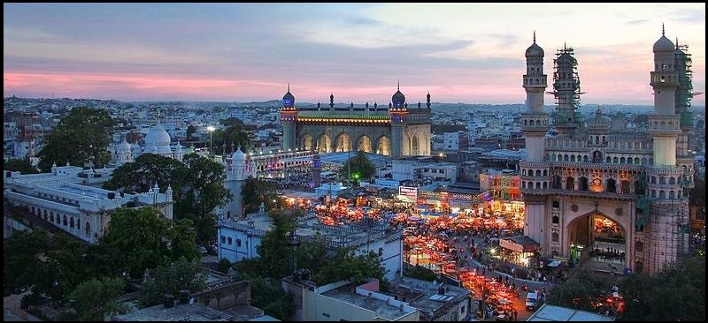 Evening view of The Charminar along with other historical structures and Bazaars.