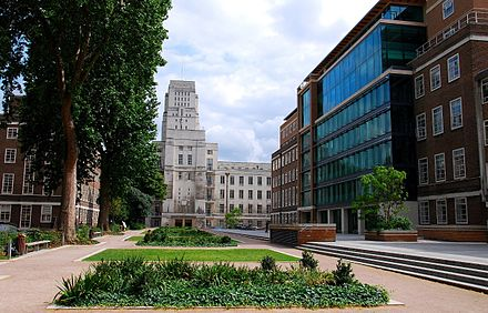 Birkbeck, University of London, adjacent to the Senate House. A view of Birkbeck, University of London.jpg