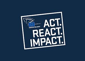 Elections to the European Parliament - Logo and slogan of the European Parliament election 2014: Act. React. Impact.