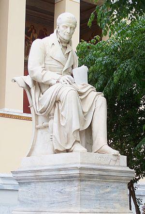 Ioannis Kossos - Adamantios Korais' statue in Athens, by Ioannis Kossos.
