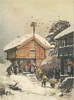 1846 painting by adolph tidemand illustrating norwegian christmas traditions