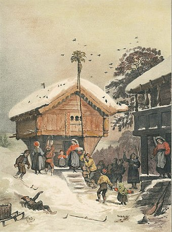 A Norwegian Christmas, 1846 painting by Adolph Tidemand Adolph Tidemand Norsk juleskik.jpg