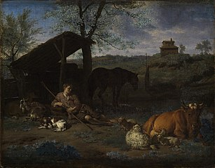 Landscape with a resting shepherd and his cattle