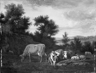 Shepherdess with Cattle