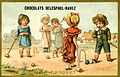 Advertising card depicting children playing croquet on the sand (14872954793).jpg