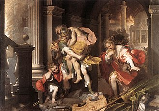 Aeneid - Aeneas Flees Burning Troy, by Federico Barocci (1598). Galleria Borghese, Rome, Italy