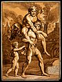 Aeneas carrying his father Anchises on his shoulders holding Wellcome V0039202.jpg