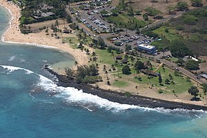 Aerial view of Poipu Beach Park on the island ...