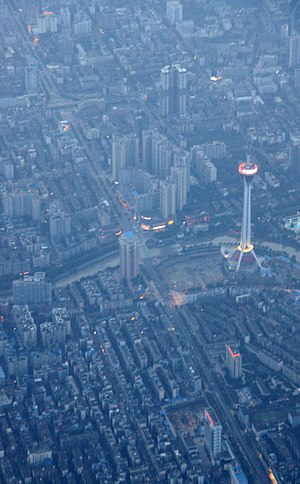 West Pearl Tower - Image: Aerial view of Chengdu