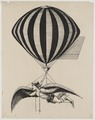 Aerialist wearing wings strapped to his shoulders and feet while suspended from a balloon LCCN2002722675.tif
