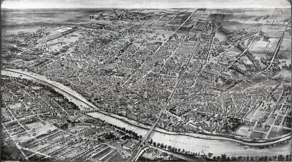 Aero view of New Brunswick, New Jersey, 1910 (cropped)