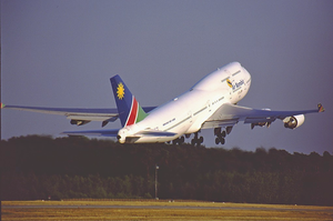 Air Namibia - An Air Namibia Boeing 747-400 departs Frankfurt Airport in 2001.