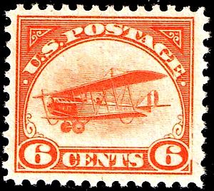1918 Curtiss Jenny airmail stamps - Image: Airmail 2 1918 Issue 6c