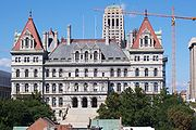 The New York State Capitol viewed from the east, with the Alfred E. Smith Building in the background