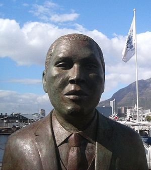Albert Lutuli - Statue of Albert Lutuli at Nobel Square at the V&A Waterfront in Cape Town.