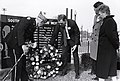 Albert Prosser, Chief Marshal of Evacuation Day Parade, Mayor Raymond L. Flynn, unidentified man and Kathy Flynn laying wreath at South Boston Vietnam Memorial (9504750558).jpg
