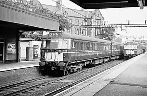 Alderley Edge railway station - Alderley Edge station, October 1962, with two AM4 EMUs