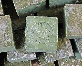 handmade, hard bar soap associated with the city of Aleppo, Syria