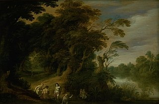 Wooded Landscape with Bathing Nymps