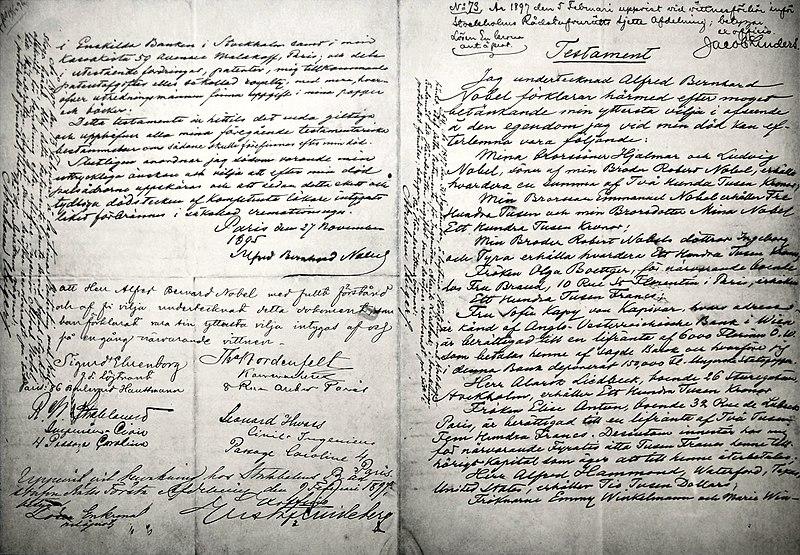 File:Alfred Nobels will-November 25th, 1895.jpg