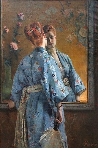 Alfred Stevens (painter) - La Parisienne japonaise 1872 Musée d'art moderne et d'art contemporain, Liège