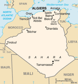 Map of Algeria highlighting Adrar