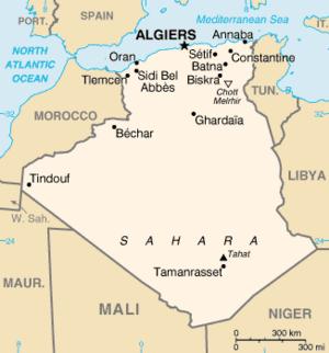 Outline of Algeria - An enlargeable basic map of Algeria