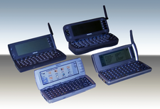 Evolution of the Nokia Communicator. Models 9000, 9110, 9210 and 9500 shown.