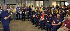 Unified Command (Deepwater Horizon oil spill) - Admiral Thad Allen provides a briefing to the Unified Area Command in New Orleans on June 28, 2010.