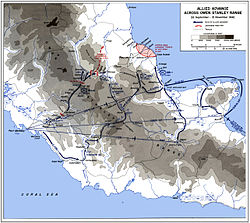 A map of Papua, indicating the various routes taken across the Owen Stanley Range.