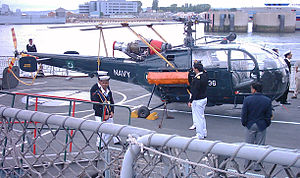 HMS Avenger (F185) - Pakistan Naval Air Arm Alouette III on board Tippu Sultan at Portsmouth in 2005
