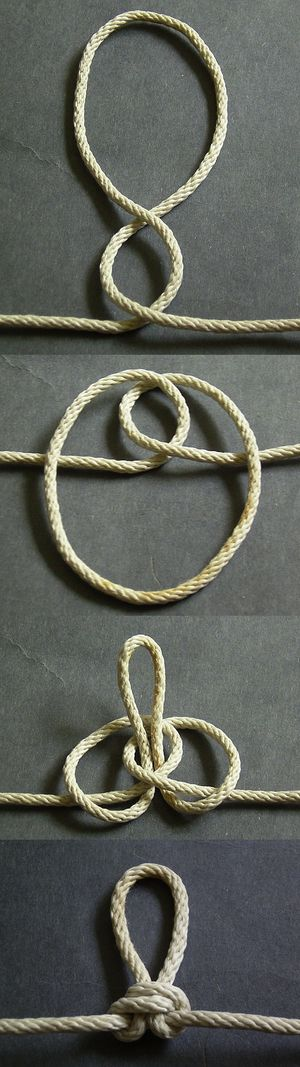 Butterfly loop - Among high quality knots, the butterfly loop is perhaps the easiest to remember how to tie correctly. Start by simply making two twists in the same direction to form the two loops. Then wrap the outer loop around the standing part and pull it through the hole of the inner loop.