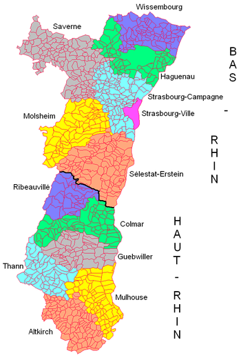 administrative map of alsace showing d partements arrondissements