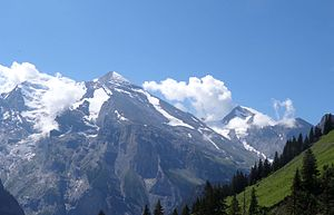 Altels in der Mitte, links Balmhorn, rechts Rinderhorn