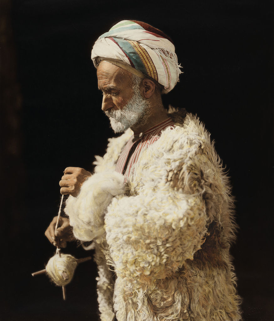 File American Colony Ramallah Peasant Spinning Wool 18417
