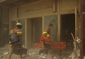 200 Vesey Street - Two rescue workers entering the American Express Tower after the attacks on the World Trade Center.