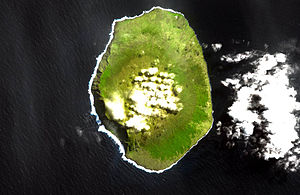 Falaises d'Entrecasteaux - Satellite image of Amsterdam Island, showing the Falaises d'Entrecasteaux along the western (left-hand) coast of the island