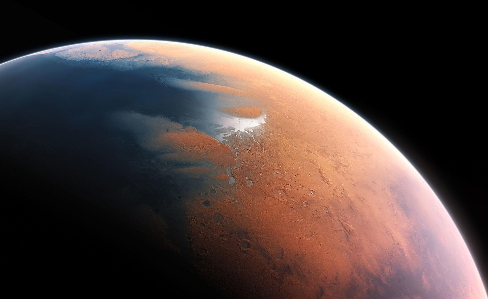 ภาพจำลองดาวอังคารเมื่อ 4 พันล้านปีก่อนพบว่ามันเต็มไปด้วยน้ำ (ภาพโดย European Southern Observatory / M. Kornmesser)