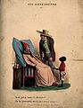 An ill man being visited by a suspicious looking man. Colour Wellcome V0011137.jpg