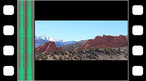 Anamorphic format - Figure 1. Shooting without an anamorphic lens, in widescreen picture format on 4-perf film; some of the film surface area is wasted on the upper/lower, black frame lines.