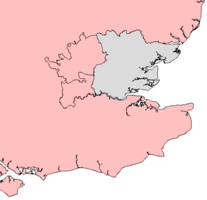 Kingdom of Essex - A map showing the outline of those parts now adjacent to the traditional county of Essex (in grey), but which historians postulate were part of the ancient Kingdom of Essex before becoming detached during the middle of the 8th century.