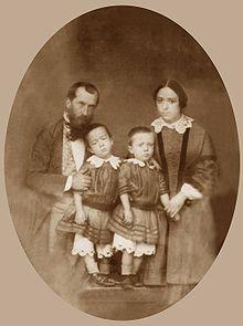 André Léo con su familia en 1856.