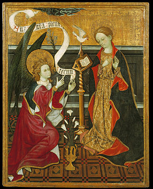 Annunciation - Annunciation, work by unknown artist, c. 1420, Museu Nacional d'Art de Catalunya, Barcelona