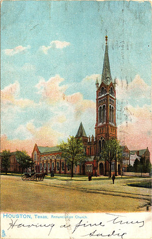 Annunciation Church (Houston) - Annunciation Church, Houston, TX (Postcard, circa 1907)