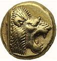Anverso de Hecté de electro - Prótomo de león - Mitilene (521-478 a.C.).jpg