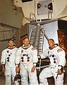 Apollo 11 astronauts in front of lunar module mockup (48230315347).jpg