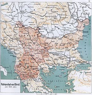 Archbishopric of Ohrid - Map depicting the Archbishopric of Ohrid in ca. 1020 (1917).