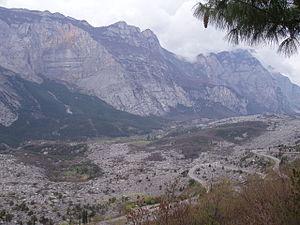 Garda Mountains - The Sarca valley and steep slopes of the Vendresi